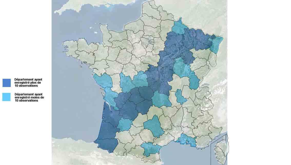 Doortrek door Frankrijk afgelopen weekend (bron: LPO).